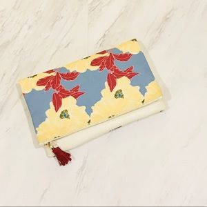 Rachel Pally   Ivory and Blue Reversible Clutch